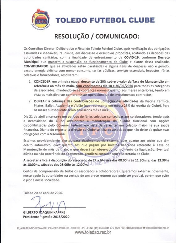RESOLUÇÃO/COMUNICADO 20/04